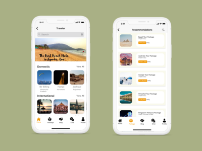 Travel app home screen and trip list screen
