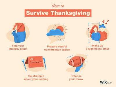How to Survive Thanksgiving facebook thanksgiving holidays holiday icons web handmade typography icon web design illustration vector design