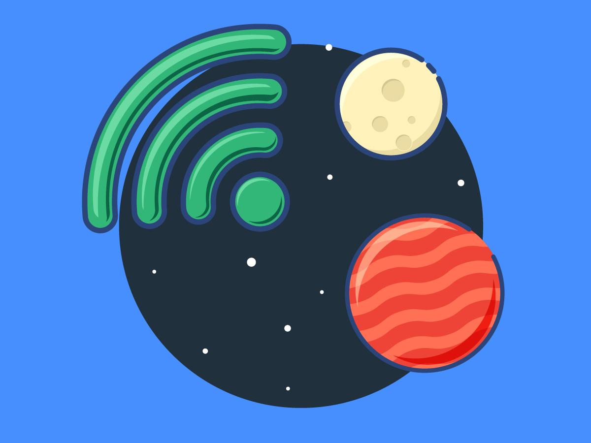 Wifi in Space planet star stars space flat minimal handmade gif icons wix branding web ux ui logo web design icon vector illustration design