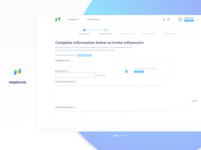 Brand & Bloger Platform /  Step by step #2 process bloger brand ui ux create account company profile information blue step step by step