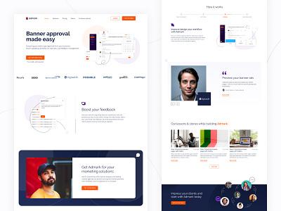 Admark concept website banner market icons illustration landing homepage typography ux ui design web