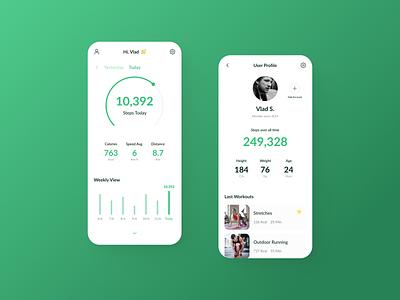 Fitness App Concept app green fitness mobile design flat ui ux typography