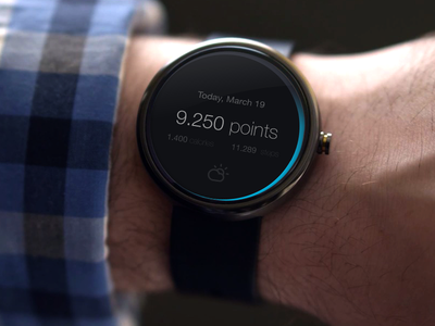 Android Wear: Fitness Concept android watch ui clean design sketch prototype mobile wearable minimal