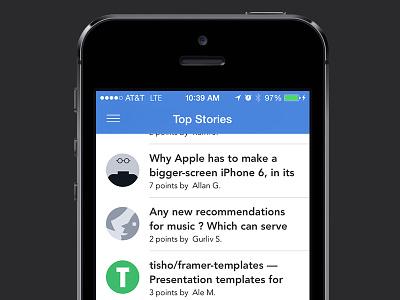 Designer News: iOS 7 mobile design news app beta designer news clean sketch ios 7 ios