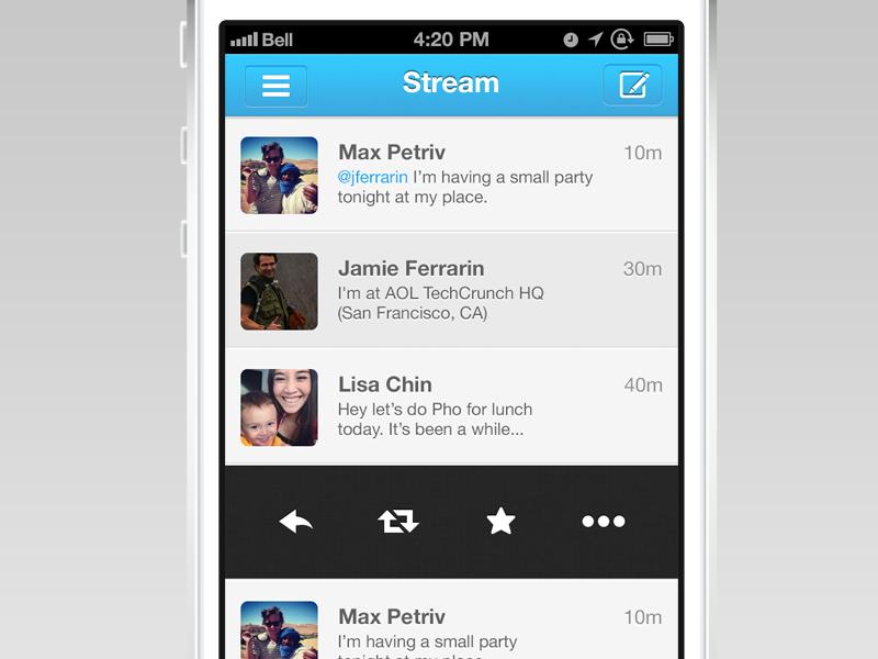 App.Net Client: Global Feed View app.net ios ui iphone ux user interface stream mentions favorites menu settings
