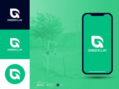 GreenClay Logo Idea lettering minimal flat app icon typography branding logo design illustration