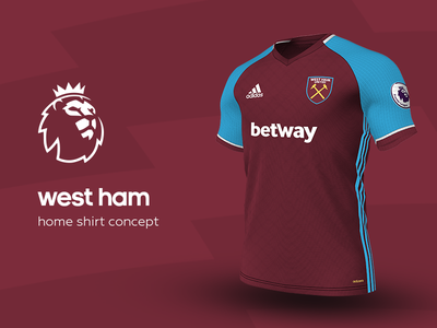 West Ham Home Shirt by adidas west ham premier league adidas football kit jersey soccer