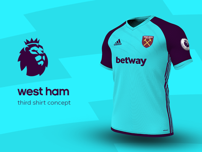 West Ham Third Shirt by adidas west ham premier league adidas football kit jersey soccer
