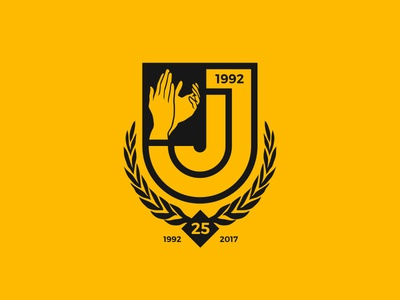 The JJ's 25th Anniversary Crest emblem badge crest anniversary black gold nz wellington football club island bay