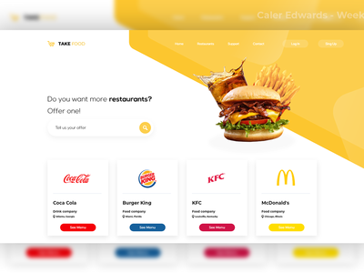 Food website mockup
