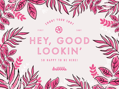 Hello Dribbble! pink first shot debut plants