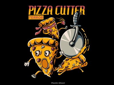 pizza cutter terror vector merchband cutter cartoon pizza terror pizza tshirt design cartoon artwork design for sale apparel design illustration