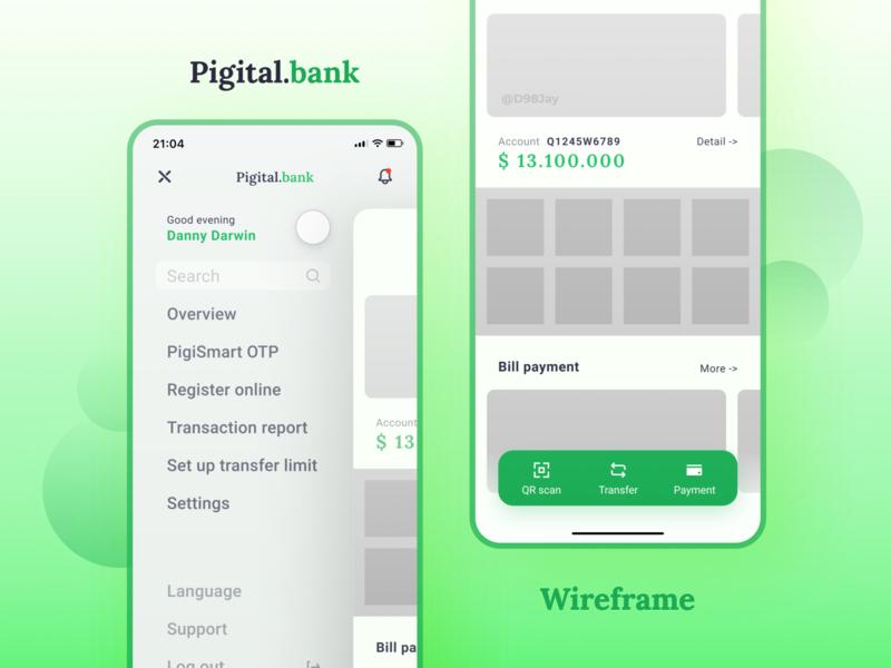 Pigital.bank | Banking app concept wireframe ux ui green bank mobile interface figma app