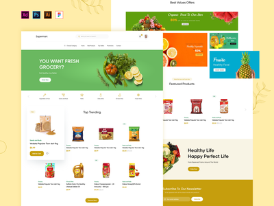 Minimal website design of Super Market product design ads banner banner design website banner ui design uxdesign uidesign web design website design minimal design uiux fruit website grocery store grocery website organic food website vegitable website store website food website supermarket food and beverage