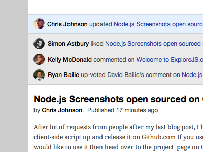 Social Blog Engine UI: Revision 1 markdown mongodb simple blog avatars circles white droid serif helvetica node.js github engine code html css sketch realtime notifications button icons alert comments liked prototype api