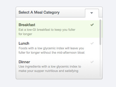 Select A Meal Category sketch web dropdown select box diet health medical mhealth api html