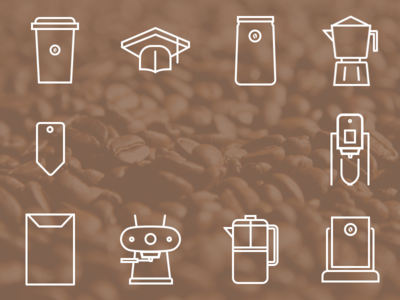 Custom Coffee Themed Icons coffee client icons vector line sketchapp cup bag sign tag envelope beans