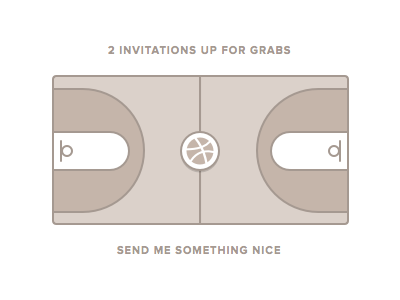 2 x Dribbble Invitations dribbble invitations draft links court player logo proxima nova stroke