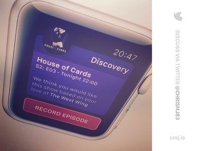 TV Notification - Apple Watch App apple watch iwatch tv record button sans app sketch card ui ux