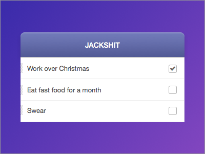 Jackshit gtd xmas christmas todos opposites icon check done helvetica purple pink grey