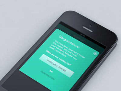 Invite Your Friends green mint modal iphone app ios iphone5 iphone4 retina helvetica button close icon custom links friends mobile metro flat cta invite