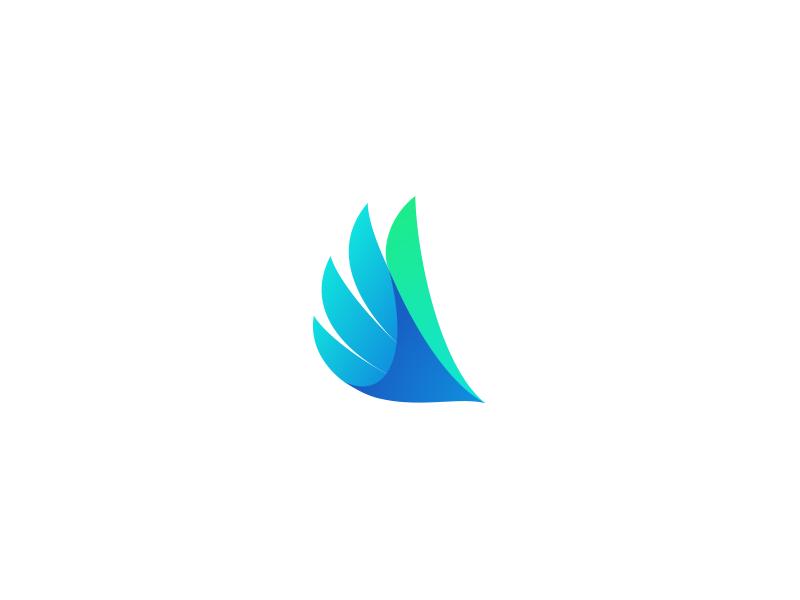 Bird gradient concept logo design freedom wing bird