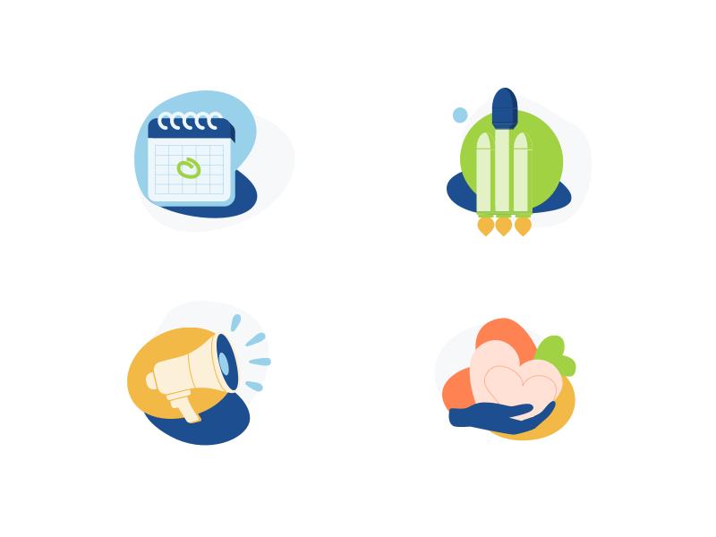 Quick Illustrations design space date speaker help give donate promote launch rocket calendar illustration