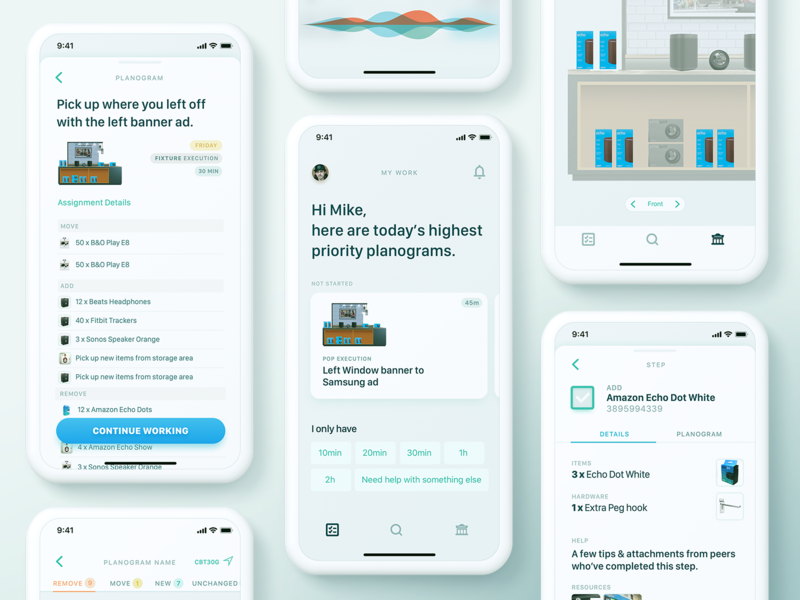 To-do app for store associates voice home map planogram department store experience interaction user ui ux screen screens app mojotech design