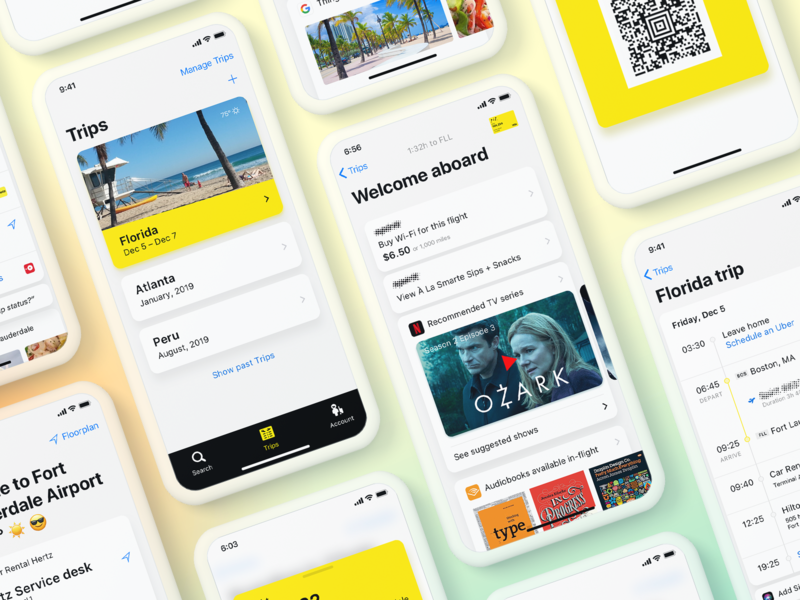 Airline Trip Planner ios app entertainment flight booking airline tool management trip app ios icon ux ui design
