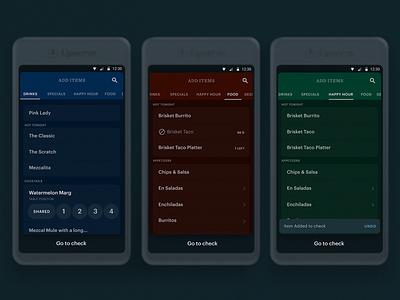 Menu for POS for restaurant device android check graphic mojotech manolov ivan design pos ui menu