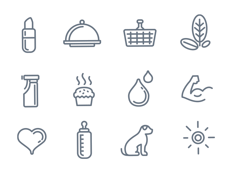 Custom icons lipstick gourmet basket shopping bag leaf leaves tree cleaning bakery muffin droplet drop water muscle heart baby bottle dog pet puppy sun design icon icons set ivan manolov rounded