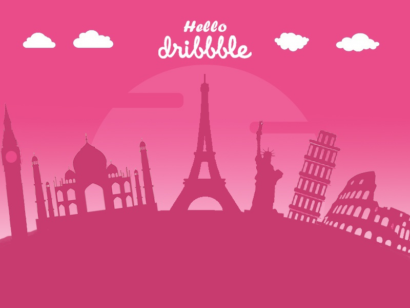 Debut - Hello Dribbble! debut planet earth coreldraw graphics pink first shot wonders monuments tower of pisa colosseum big ben statue of liberty taj mahal eiffel tower debut shot debuts hello dribbble illustrator photoshop illustration