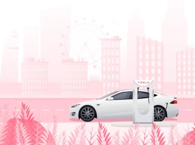 Tesla Car Illustration