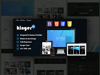 Kinger - Portfolio Html5 Bootstrap Template ux icon branding typography logo ui template clean  creative clean cover design psd twitter boostrap landing page bootstrap personal portfolio portfolio html5