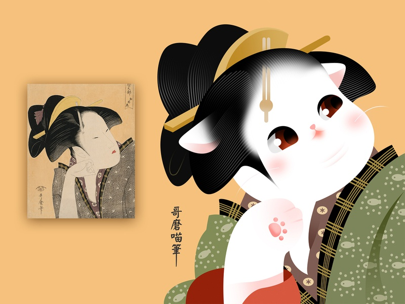 Famous Kitty featuring Ukiyoe edo ukiyoe ui traditional popular kitty japan icon illustration google flat effyzhang cute color cat
