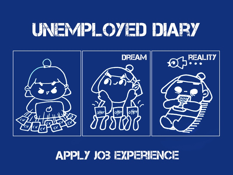 Unemployed diary:apply job experience job work ux ui warm reality comics manga life illustration funny happy effyzhang diary designer cute comic