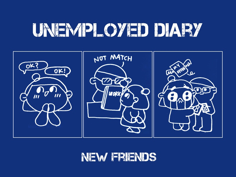 Unemployed diary:new friends warm manga life job funny happy ux lovely flat icon illustration ui effyzhang diary designer cute comics