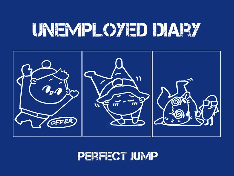 Unemployed diary:perfect jump story manga lovely ui ux icon unemployment funny flat effyzhang diary designer cute comics