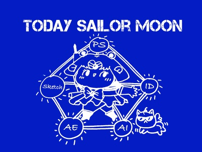Today Sailor Moon manga comic sailor moon sticker series dairy designer daily funny design lovely flat cute ui icon effyzhang illustration