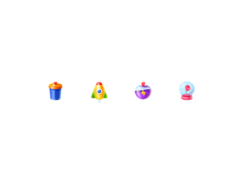 Tiny Colorful Icon skeuomorphism detail tiny ui icon colorful snowball power perfume rocket can trash
