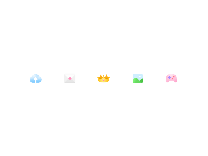 Tiny Icon cute gradient small color ui icon game photo crown mail cloud