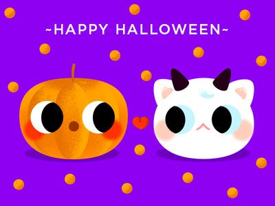 Happy Halloween!!! card purple love pumkin halloween lovely cute cat kitty gradient color flat effyzhang illustration