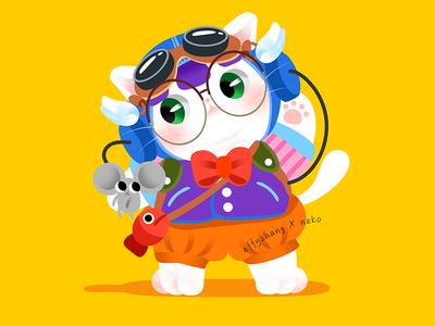 Anime Kitty :Arale neko anime arale cute kitty gradient color flat cat effyzhang illustration