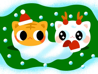 Meowy  Xmas santa snow festival christmas lovely cute kitty gradient color google flat cat effyzhang illustration