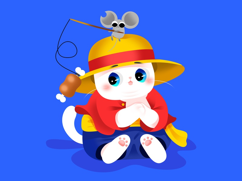Anime Kitty :Luffy google luffy icon ui lovely animate cute gradient color cat effyzhang illustration