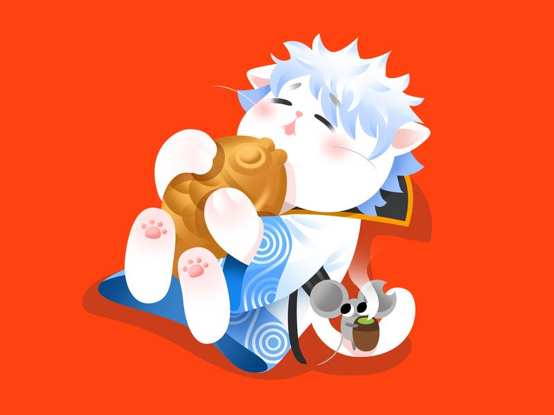 Anime Kitty :Gintama gintama animate cartoon colorful hot popular japan kitty lovely gradient google flat cat icon ui effyzhang illustration