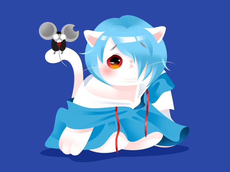 Anime Kitty : Rei Ayanami rei ayanami eva manga aniamtion anime popular hot japan lovely kitty gradient flat google cat cute effyzhang illustration