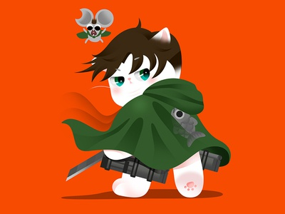 Anime Kitty : Attack on Titan neko attack on titan animate vector colorful popular hot japan lovely kitty gradient color flat google cat icon cute effyzhang illustration