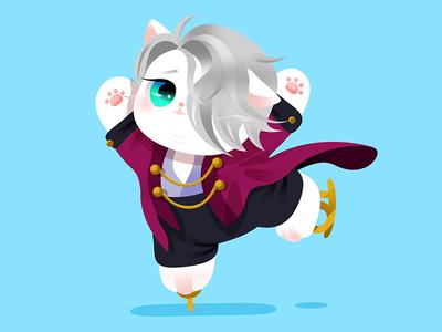 Anime Kitty : Yuri on ice vector design colorful popular hot japan lovely kitty gradient google flat cat cute effyzhang icon illustration