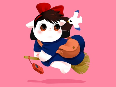 Anime Kitty : Kiki's Delivery Service hayao miyazaki kikis delivery service comic anime cartoon fly wizard popular japan lovely kitty gradient color flat cat cute effyzhang illustration